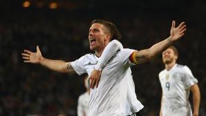 Мечтано сбогуване за Подолски - с победен гол срещу Англия (видео)