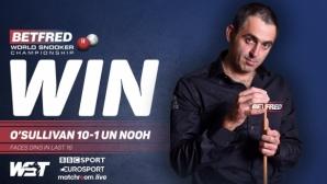 """""""Крусибъл"""" зове: Рони О'Съливан спечели най-бързия мач в историята на Световното по снукър"""